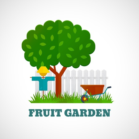 Fruit garden poster with tree scarecrow wheelbarrow on the lawn and fence vector illustration Vector