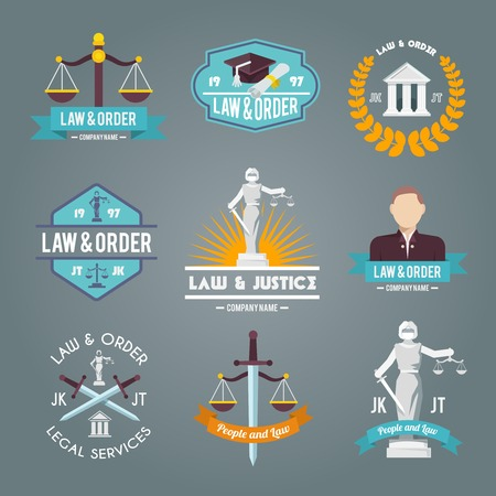 legal: Law and order legal service justice procedures company labels flat symbols collection icons set isolated vector illustration Illustration