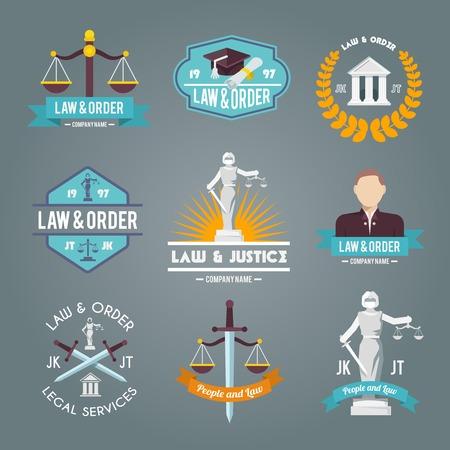 dama de la justicia: Ley y los procedimientos de justicia de servicio de orden legal de la empresa de etiquetas símbolos planas colección de iconos conjunto aislado ilustración vectorial Vectores