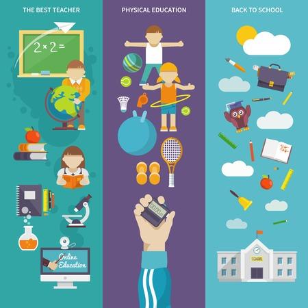 educacion fisica: Las mejores banderas verticales planas maestro de educación física establecen de nuevo a personajes de dibujos animados de la escuela cartel Resumen ilustración vectorial