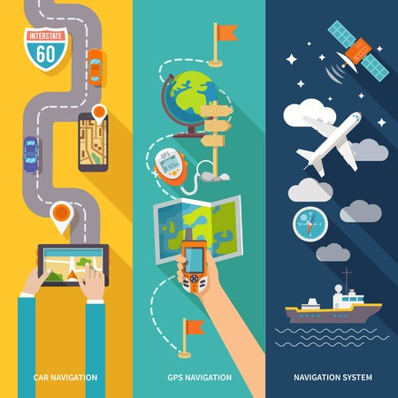 routing: Navigation GPS routing system vertical  flat banners set with aircraft vessel position velocity detector abstract vector illustration
