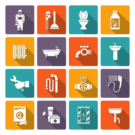 heater: Plumber flat icons collection of bath shower cabin heater system leakage solid color abstract isolated vector illustration