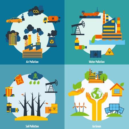 contaminacion del aire: Ecolog�a concepto de dise�o establece con agua del aire y la contaminaci�n del suelo iconos planos aislados ilustraci�n vectorial