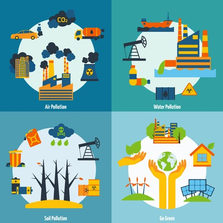pollution: Ecology design concept set with air water and soil pollution flat icons isolated vector illustration