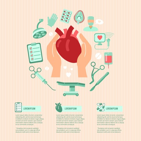 surgery concept: Cardiac surgery design concept wit human hands holding heart and operation icons vector illustration
