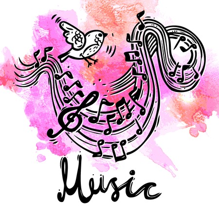 bass clef: Música boceto fondo con el pájaro y las notas musicales y el clef agudo ilustración vectorial
