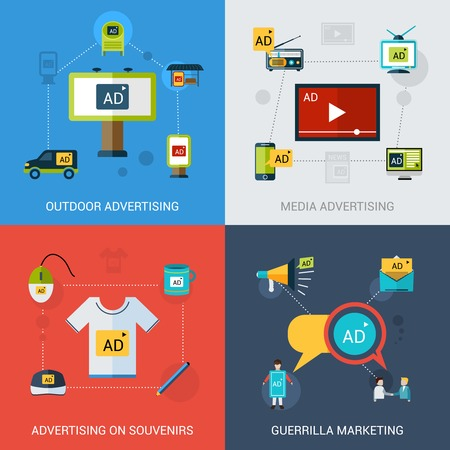 Advertising design concept set with outdoor media souvenirs marketing flat icons isolated vector illustration
