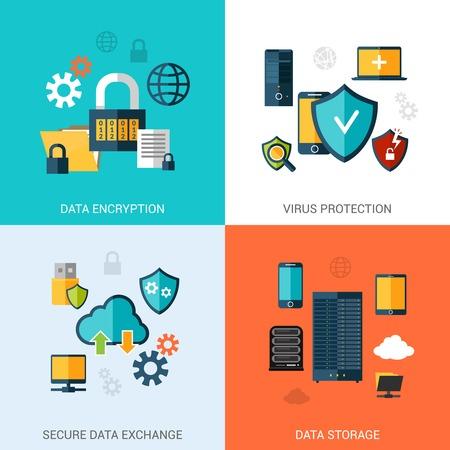 Gegevensbescherming set met geïsoleerde encryptie opslag veilige uitwisseling vlakke pictogrammen vector illustratie
