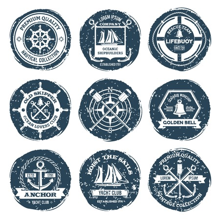skipper: Nautical sea sailing shipbuilders labels and stamps set isolated vector illustration