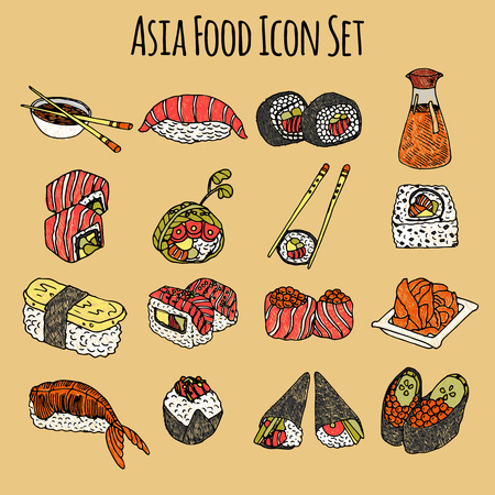 sushi: Asia food sketch decorative icon colored set with sushi and rolls isolated vector illustration Illustration