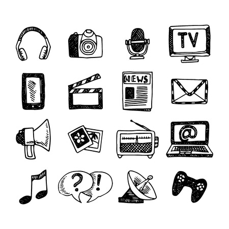internet radio: Media and news icons sketch set with megaphone newspaper headphones isolated vector illustration