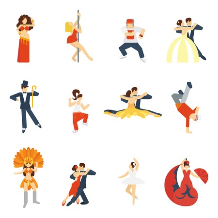 Social dancing festival elegant waltz tango oriental dance icon flat set isolated vector illustration