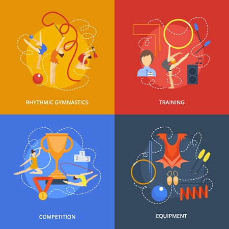 Gymnastics design concept set with rhythmic training competition equipment flat icons isolated vector illustration Ilustracja
