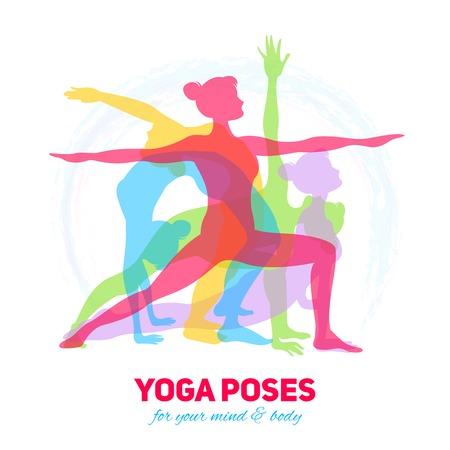 mente humana: Concepto de fitness Yoga con siluetas niña en diferentes poses ilustración vectorial