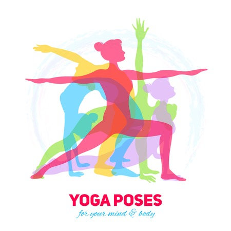 mind set: Yoga fitness concept with girl silhouettes in different poses vector illustration