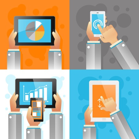 Human hands with mobile devices design concept set isolated vector illustration Vector