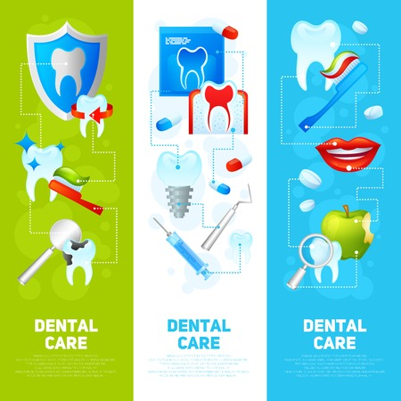 medical instruments: Dental care vertical banner set with medical tools and dentistry instruments isolated vector illustration