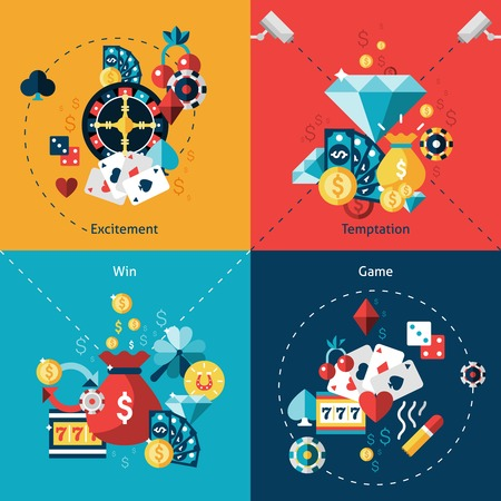 fichas casino: Casino concepto de diseño conjunto con los iconos planos tentación emoción del juego victoria aislado ilustración vectorial