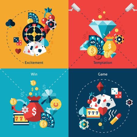 Casino ontwerpconcept set met geïsoleerde opwinding verleiding win spel vlakke pictogrammen vector illustratie