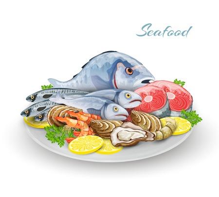 la marinera: Plato de mariscos con delicadeza productos gourmet restaurante de pescado composici�n ilustraci�n vectorial Vectores
