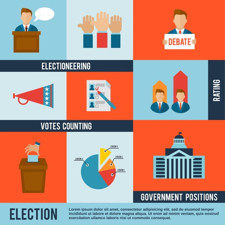 politics: Election votes counting debate and rating icon flat set isolated vector illustration