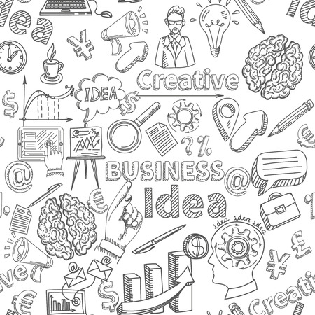 pencil drawn: Creative background seamless pattern with business idea symbols vector illustration