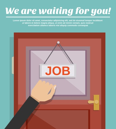 knocking: Job search concept with businessman hand knocking on office door vector illustration