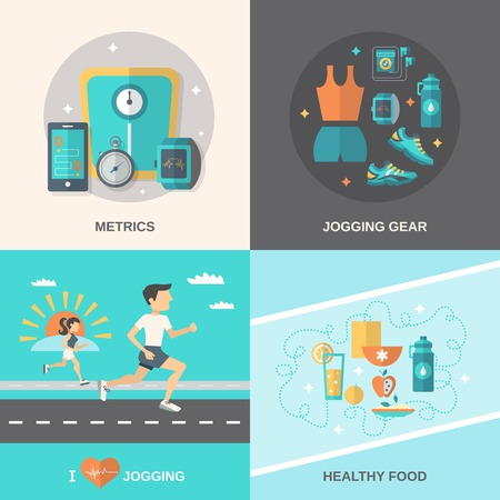 running shoe: Jogging design concept set with metrics gear healthy food flat icons isolated vector illustration
