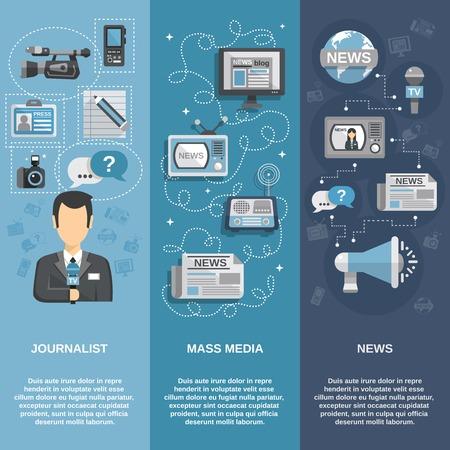 Giornalista bandiera piatta impostato verticale con i mass media e gli elementi di notizie isolato illustrazione vettoriale Vettoriali