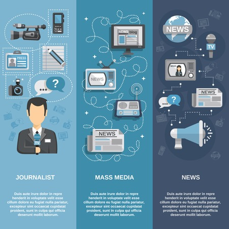 news van: Journalist flat banner set vertical with mass media and news elements isolated vector illustration