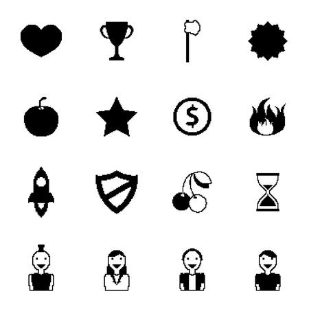 8 bit: Retro 8 bits juegos set de iconos de negro con la gente de p�xeles arma y premios ilustraci�n vectorial aislado Vectores