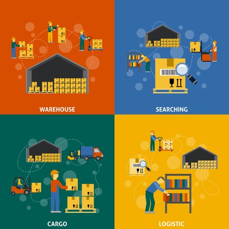 logistics: Warehouse design concept set with searching cargo logistic flat icons isolated vector illustration Illustration