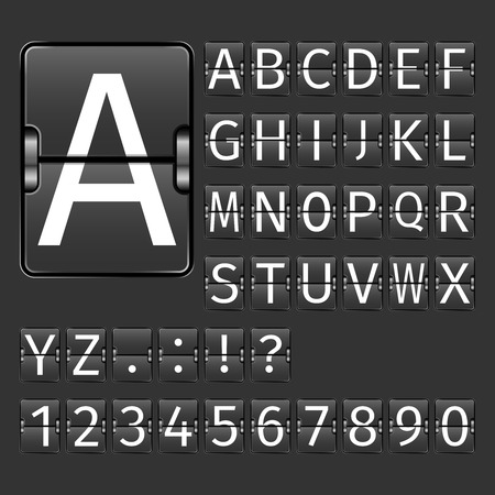 Alphabet letters and numbers on black arrival departure airport board vector illustration Vettoriali