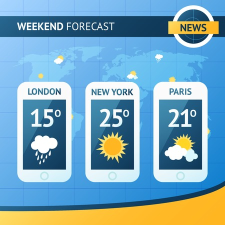 Weather forecast background with mobile meteorology application widgets vector illustration