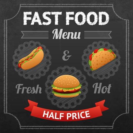 sausage dog: Fast food chalkboard poster with fresh and hot hotdog taco and hamburger vector illustration