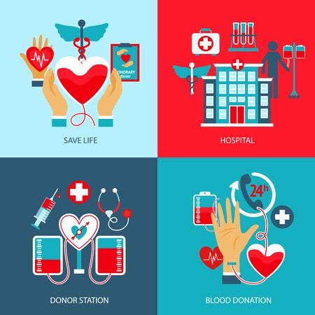 donate: Donor design concept set with life save hospital blood station donation flat icons isolated vector illustration