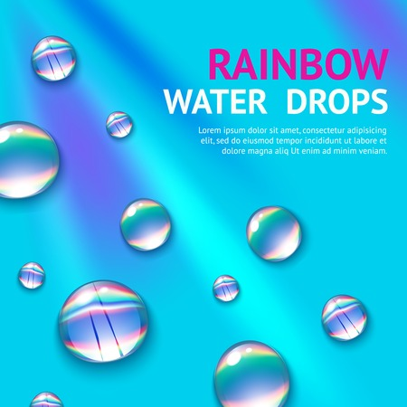 water reflection: Realistic water drops with colorful rainbow reflection inside poster vector illustration