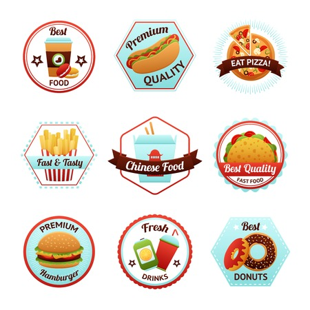 nachos: Fast food emblems set with donut soda potato chips isolated vector illustration