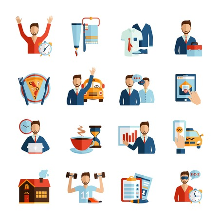 vida: Hombre iconos rutina diaria de trabajo fijado día y descanso aislado horario vida ilustración vectorial