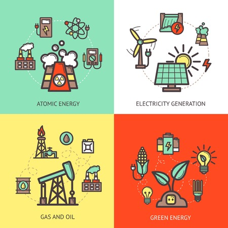 battery icon: Energy design concept set with atomic gas and oil green electricity generation icons isolated vector illustration Illustration