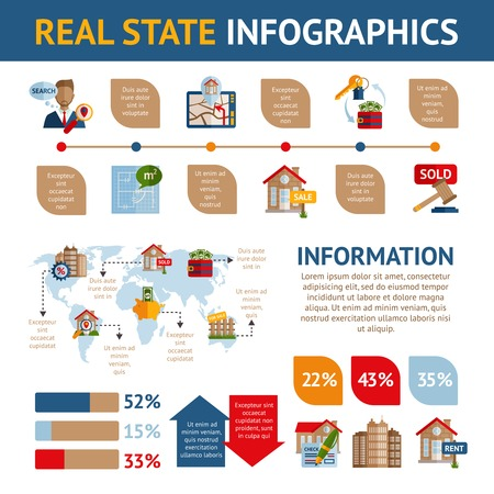 commercial real estate: Real estate infographics set with property commercial building rent and sale symbols and charts vector illustration