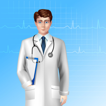 doctor clipboard: Young male doctor standing with stethoscope and clipboard poster vector illustration