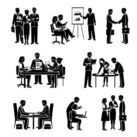 presentation people: Teamwork icons black set with business people and organized group activity isolated vector illustration