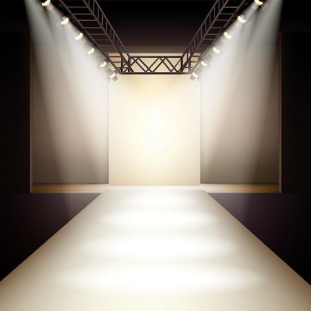 Üres divat futópálya dobogós színpadon belső reális háttér vektoros illusztráció