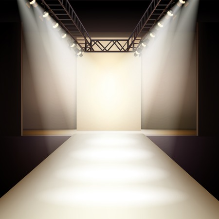 fashion catwalk: Empty fashion runway podium stage interior realistic background vector illustration