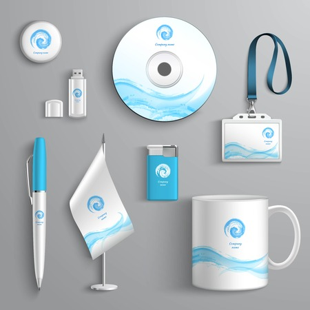 Corporate business identity stationery design elements template isolated vector illustration