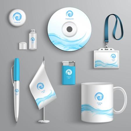 pera: Konstrukční prvky Podnikatelské identity papírnictví šablona Izolované vektorové ilustrace Ilustrace