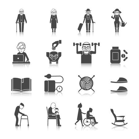 personas ancianas: Iconos negros del estilo de vida de alto nivel establecidas con las personas mayores con andadores gafas sillón de ruedas aislado ilustración vectorial