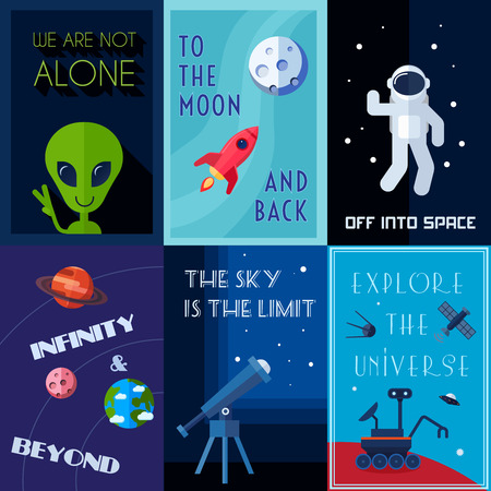 space shuttle: Space exploration human spaceflights mini poster set isolated vector illustration