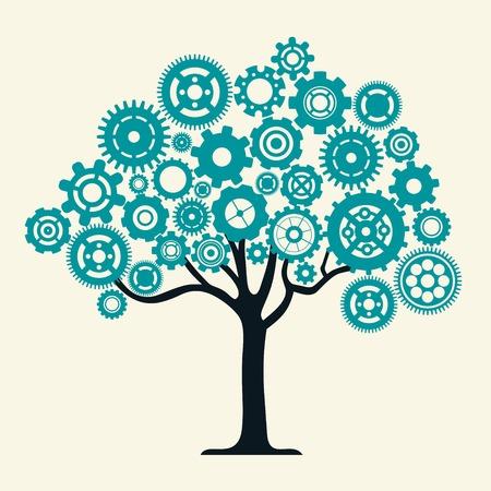 톱니 바퀴 나무 벡터 일러스트와 함께 팀워크 산업 기계 및 협력 개념
